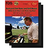 """Backyard Chef Bake and Grill Master Grill Mat Baking Mat FDA Approved Heavy Duty Premium Non Stick Grill Mats Set of 2-16""""x13"""" Great Gift Ideas for Men - Best Grilling Accessories"""