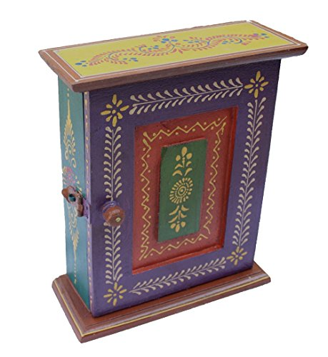Crafticia Indian Craft Rajasthani Pink City Jaipur Unique Traditional Wooden Cabinet Handmade Handicraft Ethnic Key Holder Box Decorative Gift Item Home Wall Decor Latest Sale New Creative Showpiece