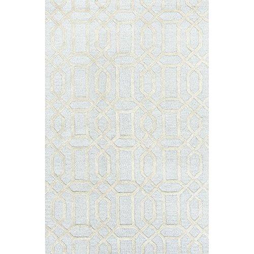3.5' x 5.5' Light Cyan Blue and Cream Modern Bellevue Hand Tufted Wool and Art Silk Area Throw Rug