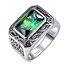 925 Sterling Silver Green Emerald Wedding Band