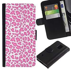 For Samsung Galaxy S5 V SM-G900 Case , White Pink Pattern Fur Animal - la tarjeta de Crédito Slots PU Funda de cuero Monedero caso cubierta de piel