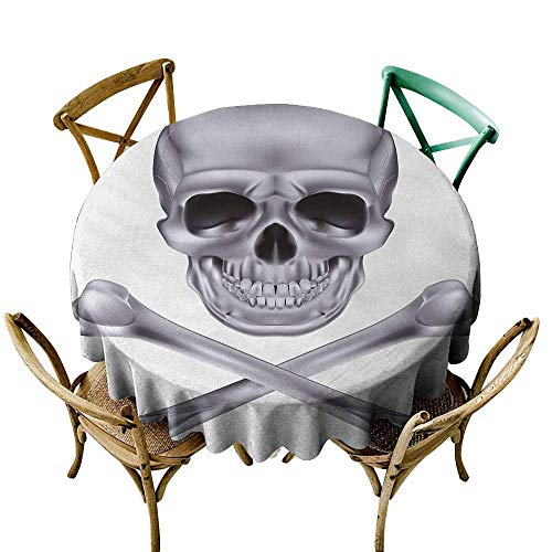 Zmlove Silver Indoor and Outdoor Polyester Tablecloth Vivid Skull and Crossbones Dangerous Scary Dead Skeleton Evil Face Halloween Theme Excellent Durability Dimgray (Round - 55