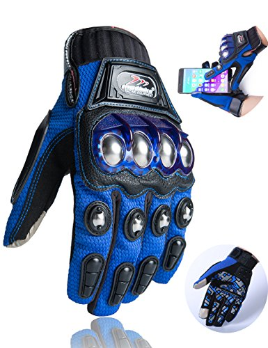 Motorcycle Gloves,Alloy Dirt Bike Motocross Motorbike Power Sports Racing Gloves Touch Screen Steel Reinforced Knuckle (Blue,M)