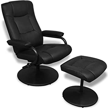 Luckyfu esta sillón TV con reposapiés Piel Artificial Negra ...