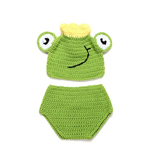 Newborn Green Frog Prince Handmade Crochet Knitted Photo Prop Outfits Fashion Costume 2016 ()