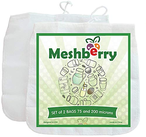 Nut Milk Bags - 2 Pack - Best Silky Texture Maker - Juice & Cottage Cheese & Greek Yogurt Strainer - Reusable & Durable 12
