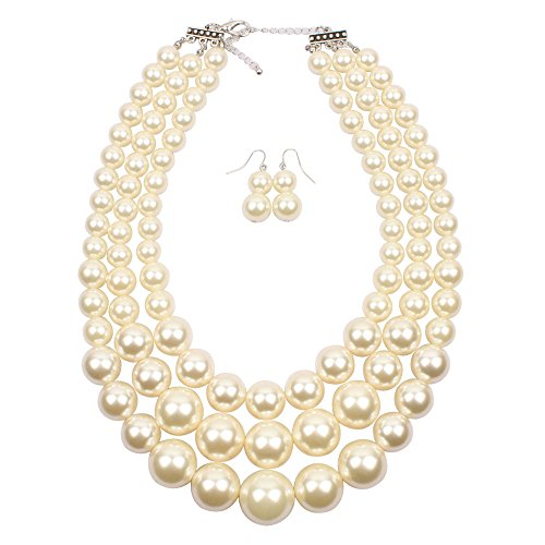 Large Costumes Jewelry Necklaces (KOSMOS-LI 3 Layer IVORY Color Big Imitate Pearl Bead Strand Necklace)