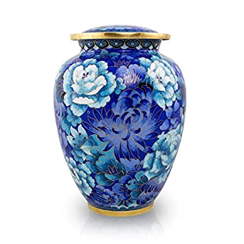 Cloisonne Vibrant Blue Cremation Urn