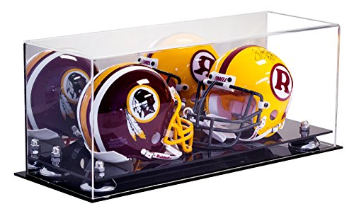 Better Display Cases 2 Mini Football Helmet Display Case (not Full Size) Clear Acrylic Plexiglass with Mirror and Silver Risers -