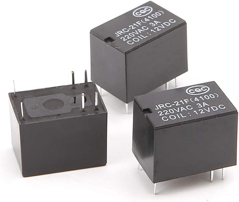 JRC-21F 4100 DC Leiterplatten-Relais Mini-Stromrelais 5 V 3 V 6-polig 12 V Sweo Mini-Relais-Modul 10 St/ück
