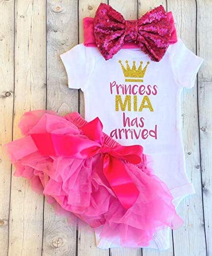 Bodysuit Burp cloths Embroidered Princess has arrived Personalized Baby Shower Gift Girl