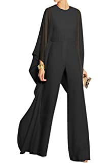 5bb4ca5d7f4e Women Casual Solid Bell Sleeve Loose Chiffon Jumpsuit Palazzo Pants Overall