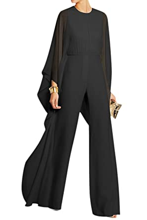 d86ff8f017a4 Amazon.com  Mupoduvos Women Casual Solid Bell Sleeve Loose Chiffon Jumpsuit  Palazzo Pants Overall  Clothing
