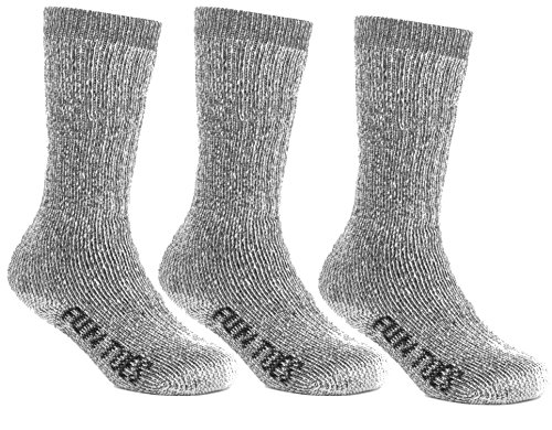 FUN TOES Children's Thermal Merino Wool Socks 3 Pairs Mid Weight For Winter Ski Sport (Grey, S (Boys Wool)