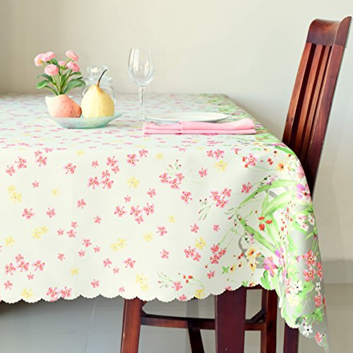 Floral Coloring Tablecloth Stain Resistant- Fashionable Table Cover for Kitchen Dining room or Restaurants – 9 Colorful Patterns Different Shapes Table Protection (Flowers 3, Rectangular 60″x84″)