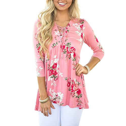 SMACOO-Womens-V-Neckline-with-Lace-up-34-Sleeve-Beautiful-Floral-Print-Peplum-Style-Blouse-Tops