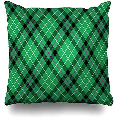 Staronov Throw Pillow Cover Scotland Green Black Hibernian Fc Tartan Diagonal Abstract Cashere Ireland Celtic Check Clan Culture Home Decor Design Square Size 18x18 Inches Zippered Cushion Case