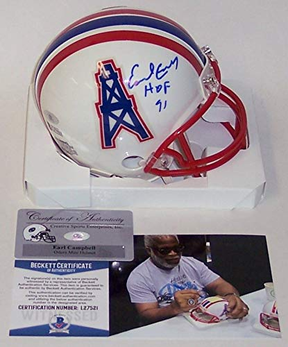 Earl Campbell Autographed Hand Signed Houston Oilers Mini Helmet - BAS Beckett - Hand Signed Houston Oilers