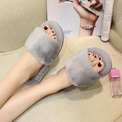 Flat Fourrure Chaussures Gris Faux Flop Slipper Sandal Femme Hiver Flip Rawdah Claquette q1xp6ZwRZ