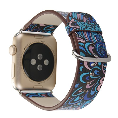 TCSHOW 44mm 42mm Soft PU Leather Pastoral/Rural Style Flower Pattern Replacement Strap Wrist Band with Silver Metal Adapter Compatible for Apple Watch Series 4(44mm)/ Series 3/2/1(42mm) (L)