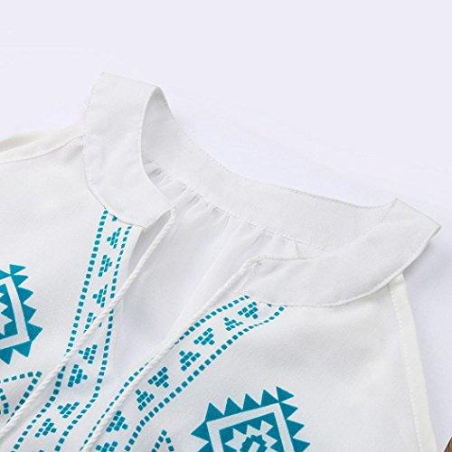 Bohme Shirt Kolylong T Pull Dnudes Bustier paules Tassel Vrac Femme Chemise de Mousseline Demi Blouse en Gomtrie t Filles Soie Top Bleu en Koly 2018 Retro Manches a Printemps dr4wqrAS