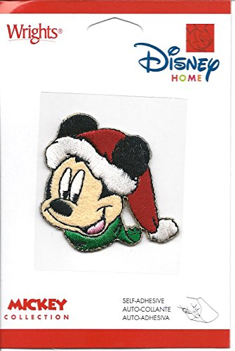 Embroidered Wright Hat - Wrights Disney Home Mickey Collection Mickey Mouse in Santa Hat 1 7/8