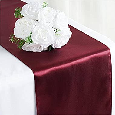 Tiger Chef 1-Pack Burgundy 12 x 108 inches Long Satin Table Runner for Wedding, Table Runners fit Rectange and Round Table Decorations for Birthday Parties, Banquets, Graduations, Engagements
