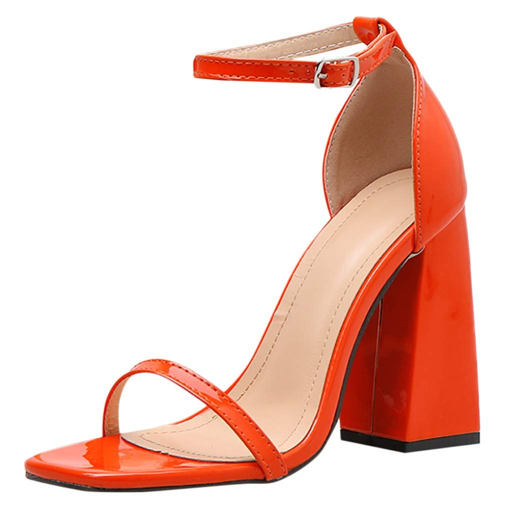 Sharemen Womens Comfort Open Toe Ankle Strap Chunky Block High Heel | Sexy Dress Formal Party Sandal (Orange,US: 5)
