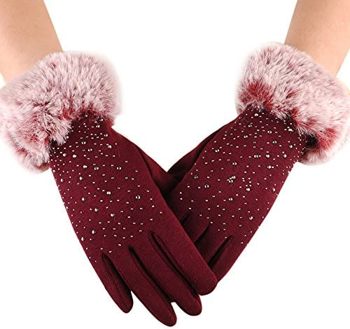 [해외]LuluZanm Winter Warm Gloves for WomenLadies Elegant Outdoor Plush Thick Gloves Retro Solid Color Gloves / LuluZanm Winter Warm Gloves for Women,Ladies Elegant Outdoor Plush Thick Gloves Retro Solid Color Gloves Red