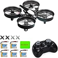 MysteryStone H36 Mini Quadcopter Drone RTF 2.4G 4CH 6 Axis Eversion with Headless Mode One Key Return, Remote Control UFO Nano Quadcopter with Four Extra Batteries and 5 in 1 Charger (Grey and Black)