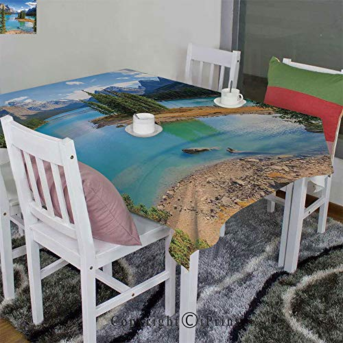 (Homenon Dress up Your Dining Table with Style,Maligne Lake in Jasper Natioanal Park Alberta Canada Summer Day Outdoor Picture(60