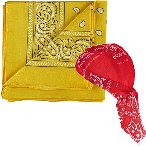 NJ Novelty - Yellow Paisley Bandanas One Dozen - Head Wrap Scarf with One Pre-tied Paisley Bandana Biker Du Rag Skull Cap