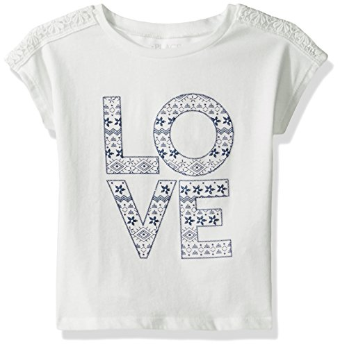 The Children's Place Little Girls' Short Sleeve Top, Simply White 78826, XS (4)