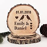 KISKISTONITE Wooden Wedding Cake Toppers Name Custom Birds Falling in Love Style, Engraved Mr and Mrs Cake Rustic Country Decoration Favors Party Decorating Supplies
