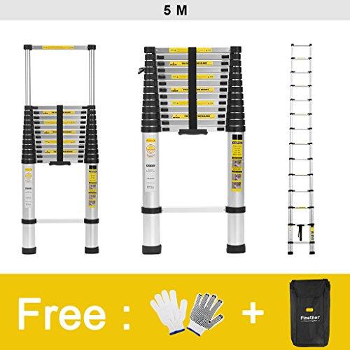 Finether 5M Aluminium Telescopic/Telescoping Loft Extension Ladder