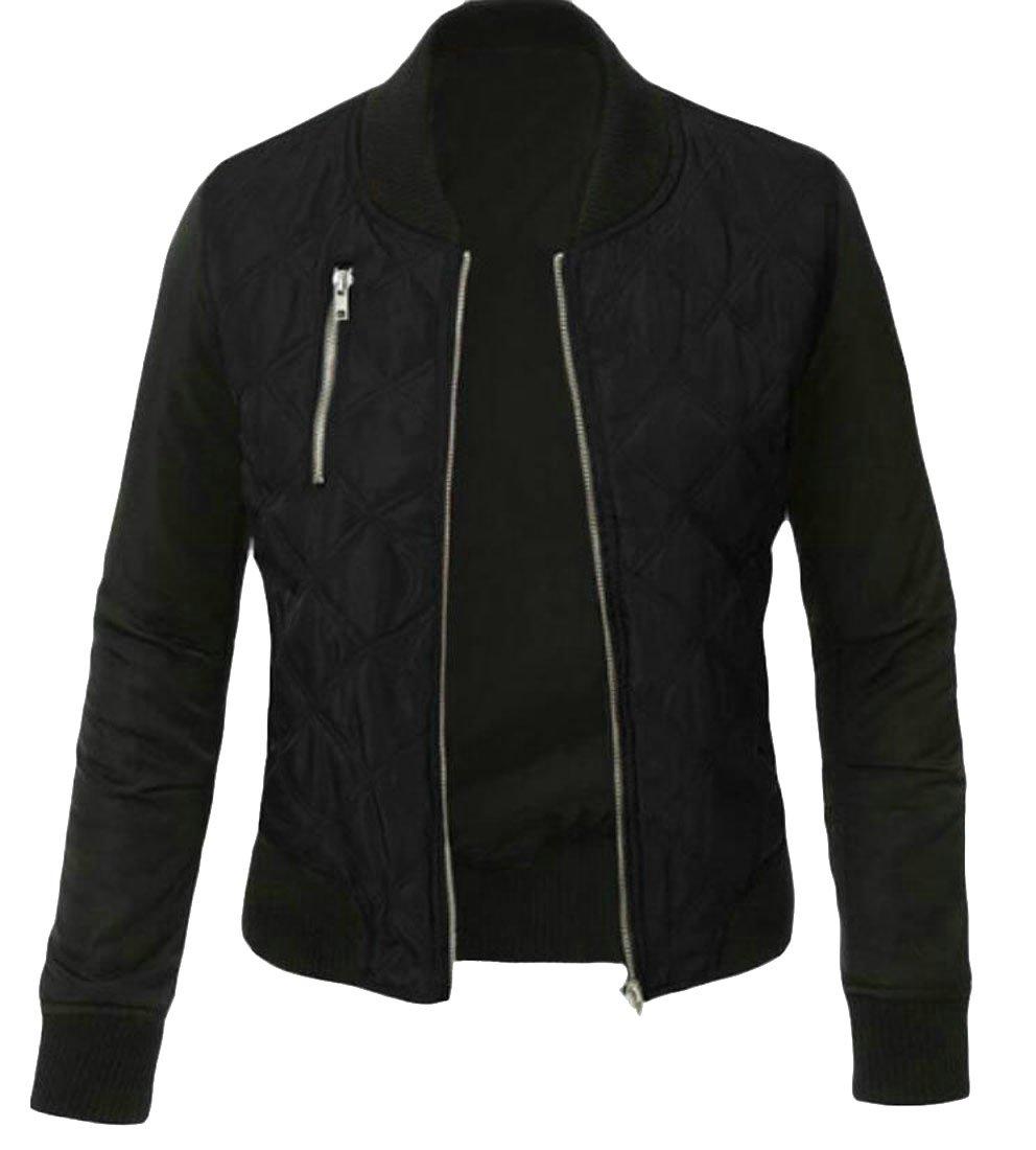 Domple Women's Stylish Full Zip Two-Tone Big-Tall Qulited Bomber Jacket Coats Black US L
