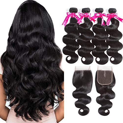 Brazilian-Body-Wave-4-Bundles-with-Lace-Closure-8A-Grade-Human-Hair-Bundles-with-Closure-Middle-Part-Soft-Brazilian-Hair-with-Closure-Natural-Color-22-24-26-2820-Natural-Color