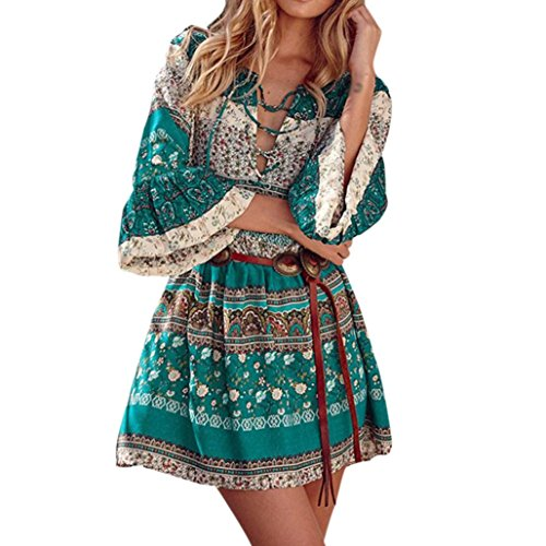 Price comparison product image Goddessvan Womens 3 / 4 Sleeve Floral Print Boho Party Dresses Plus Size with Belt (2XL,  Green)