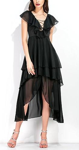 Kleider Damen Elegant Chiffon Tief V-Ausschnitt Kurzarm Knielang  Sommerkleider Volant Mädchen Freizeit 2017 von YOGLY: Amazon.de: Bekleidung