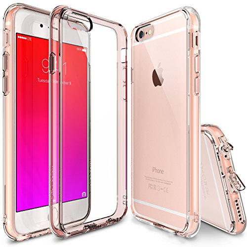 Ringke iPhone 6s Plus Case, [Fusion] Clear PC Back TPU Bumper Screen Protector [Drop Protection][Attached Dust Cap] For Apple iPhone 6s Plus/6 Plus - Rose Gold Crystal