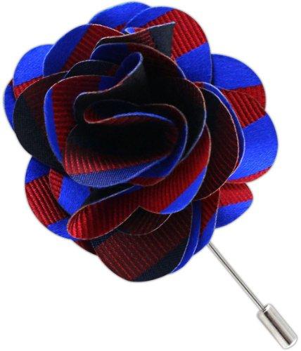 The Tie Bar 100% Silk Twill Stripe Royal Blue/Red Lapel Pin