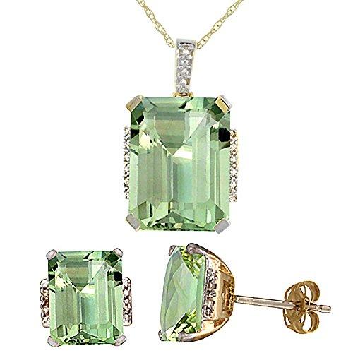 Jewellery World Bague en or jaune 9carats Diamant de boucles d'oreilles et pendentif améthyste naturel octogone Vert Accents