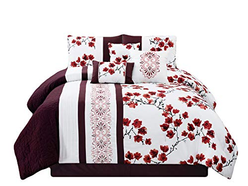 HGS 7-Pc Sakura Plum Blossom Scroll Floral Damask Embroidery Pleated Comforter Set Purple White Queen