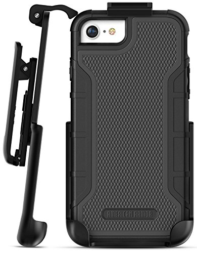 Encased Heavy Duty iPhone 8 Belt Case (Built in Screen Protector) Shockproof American Armor, Full-body Rugged Cover w/ Holster Clip - Compatible to Apple iPhone 8 4.7inch (Black) ()