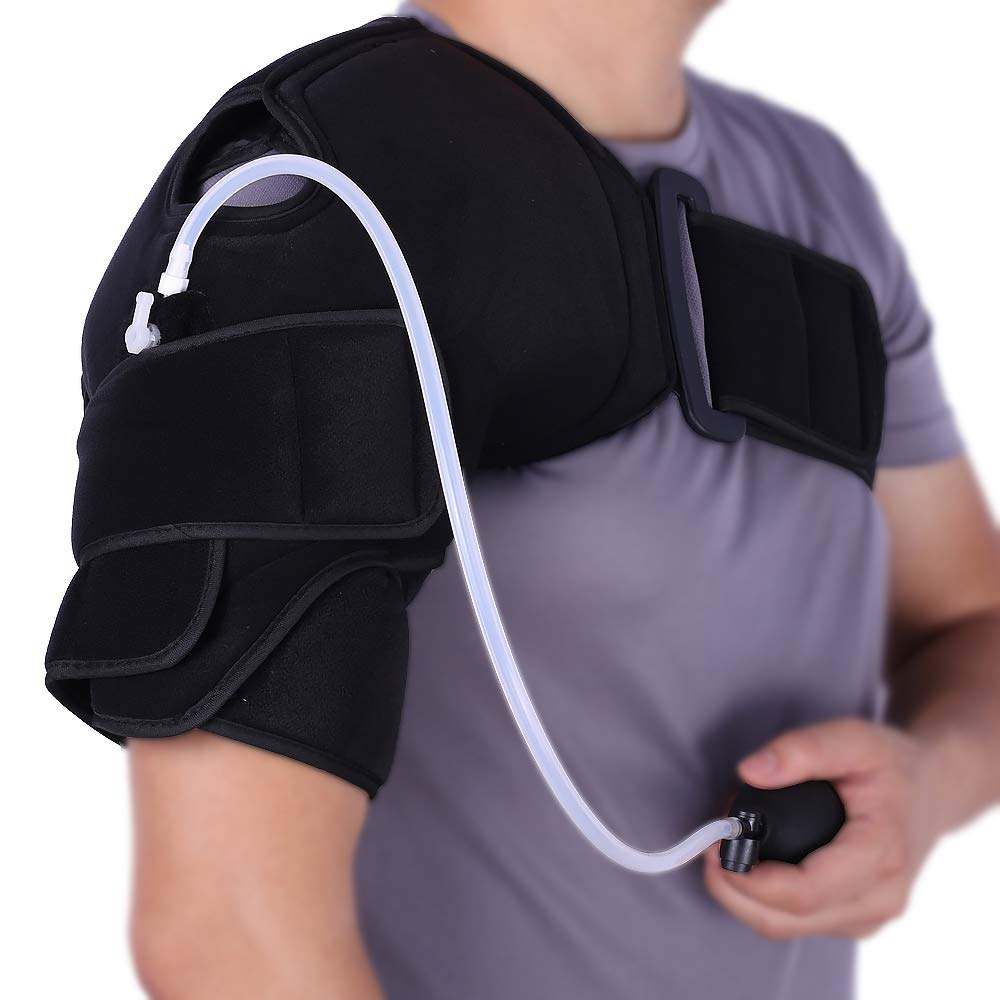 Hot/Cold Therapy & Air Compression Shoulder Support Wrap for Alleviating Shoulders Pain Swelling Inflammation and Increase Circulation by Medibot