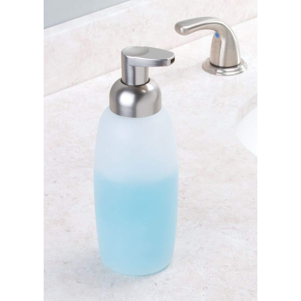 for Kitchen or Bathroom Countertops Frost//Brushed Nickel MetroDecor mDesign Foaming Glass Soap Dispenser Pump