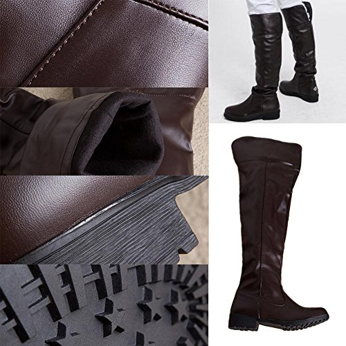 Long Boots Unisex PU Short Fluff Inner Lining COS Costume Military Boots Brown uVDNC