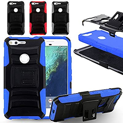Zizo Heavy Duty Armor Case For Google Pixel - Dual Layer Protective Cover w/ Holster - Strong And Tuff Protection w/ Anti-Slip Grip