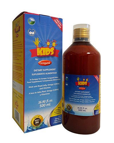 Ceregumil Kids Algae Omega 3 DHA Liquid Daily Multivitamin w/Vitamins C D3 B6 Cyanocobalamin B12 Physical Mental Development Royal Jelly for Growth & Development Excellent Child Nutrition - 500 mL