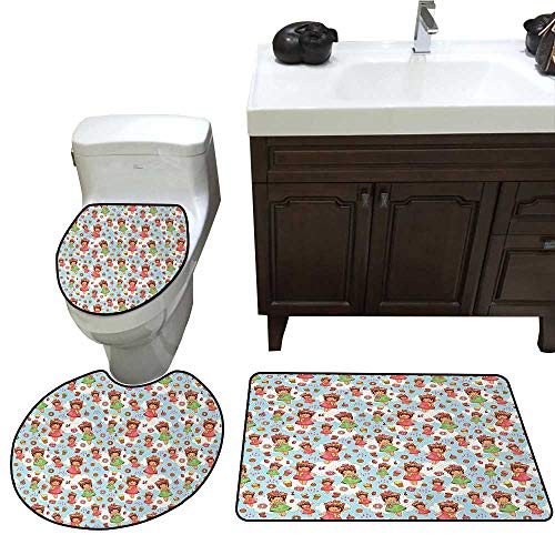 John Taylor Anime Bath Toilet mat Set Cute Little Girls with Fruit Waffle Hats Cookies Donuts and Cupcakes Yummy Pastries Toilet Rug and mat Set Multicolor ()